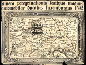 A 17th-century map showing pilgrims the way to Luxembourg's Autofestival